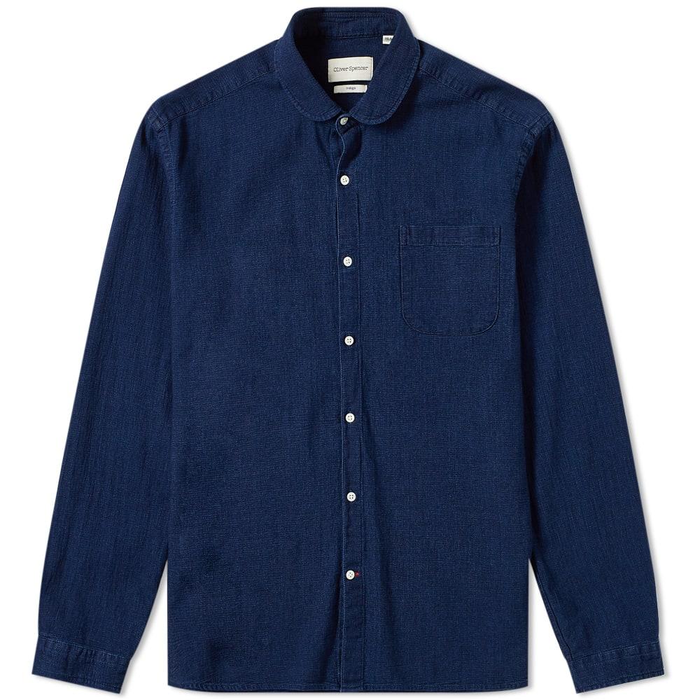 OLIVER SPENCER | Oliver Spencer Eton Collar Shirt Indigo Rise | Goxip