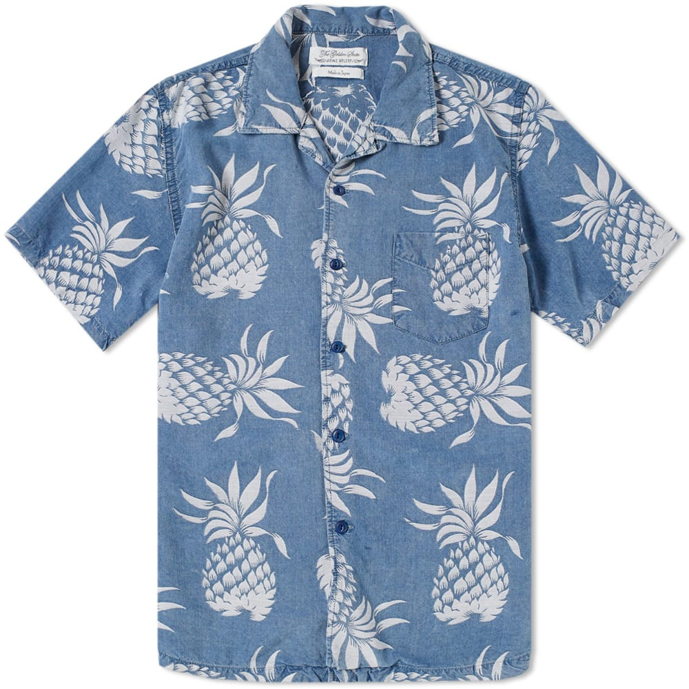 REMI RELIEF SHORT SLEEVE PINEAPPLE PRINT VACATION SHIRT
