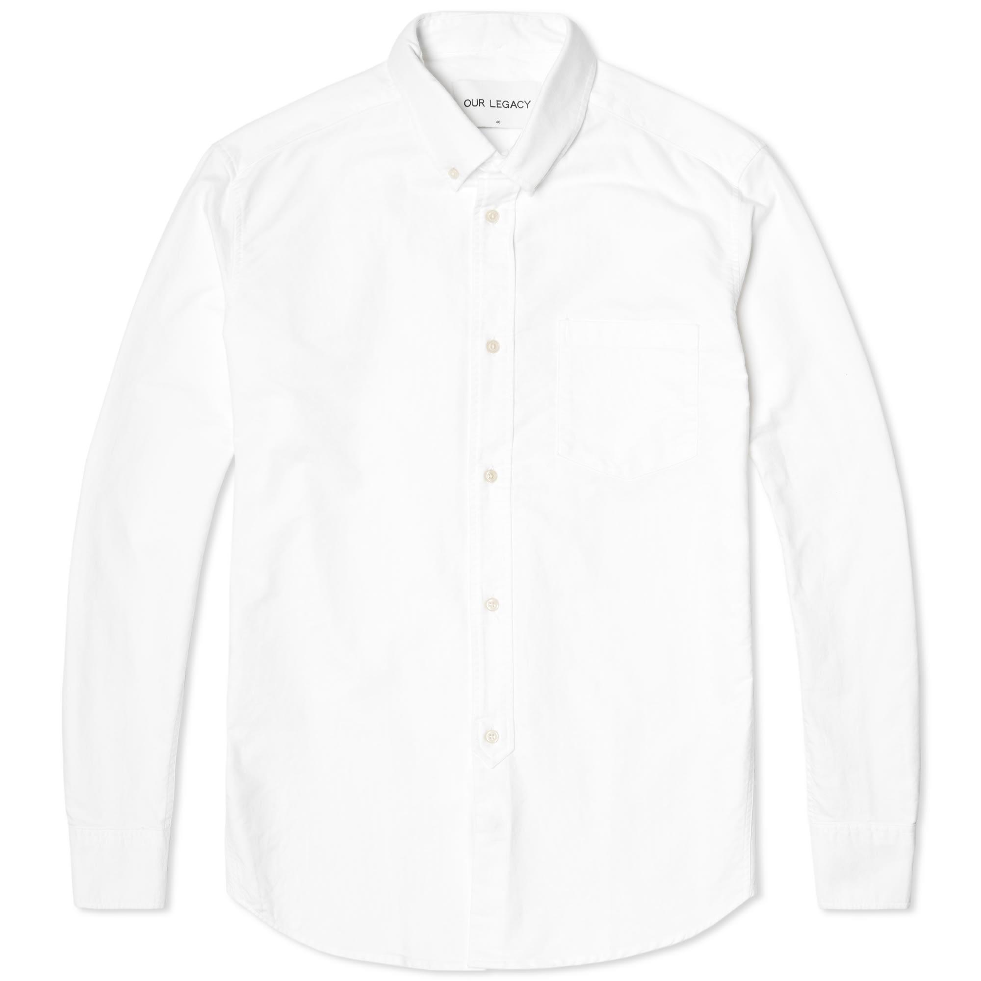 Our legacy everyman 1940s button down shirt heavy white for Heavy button down shirts