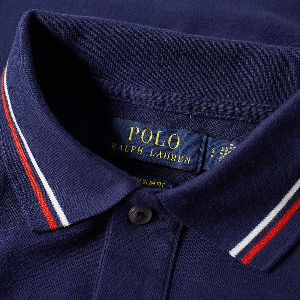 Polo ralph lauren custom fit tipped polo french navy for Custom polo shirts canada