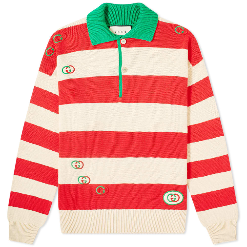 wide varieties casual shoes highly coveted range of Gucci Striped Knit Logo Polo