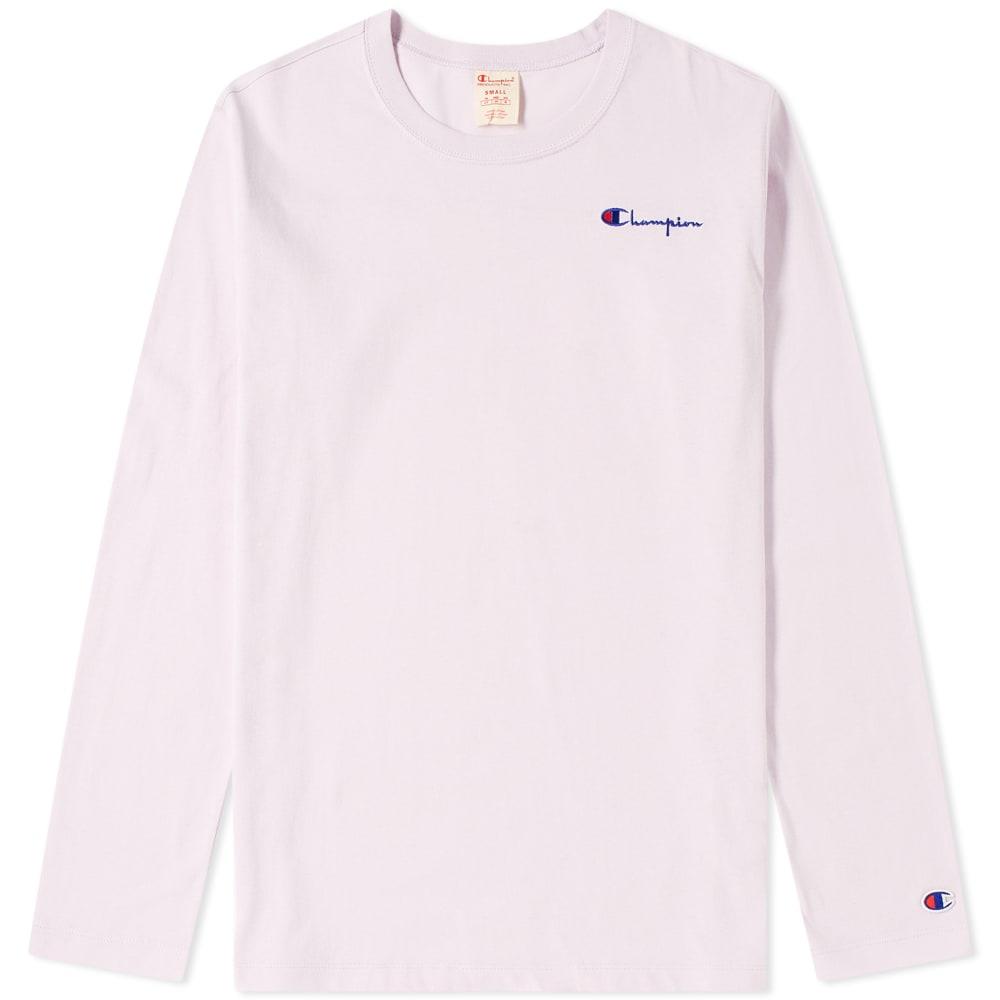 b73a8a590 CHAMPION. Champion Reverse Weave Women'S Long Sleeve Logo Script Tee in  Purple