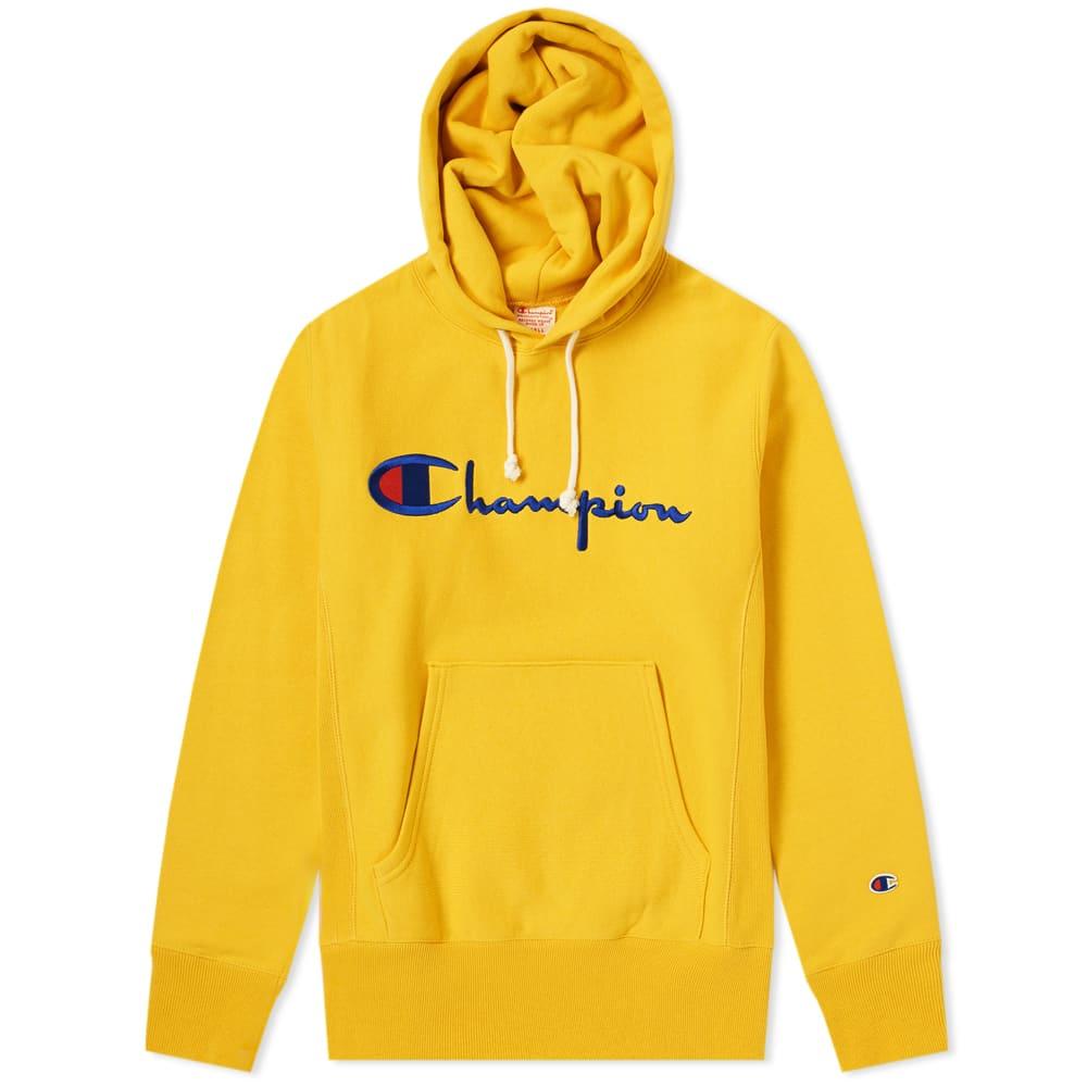 Champion Logo Embroidered Hoodie - Yellow