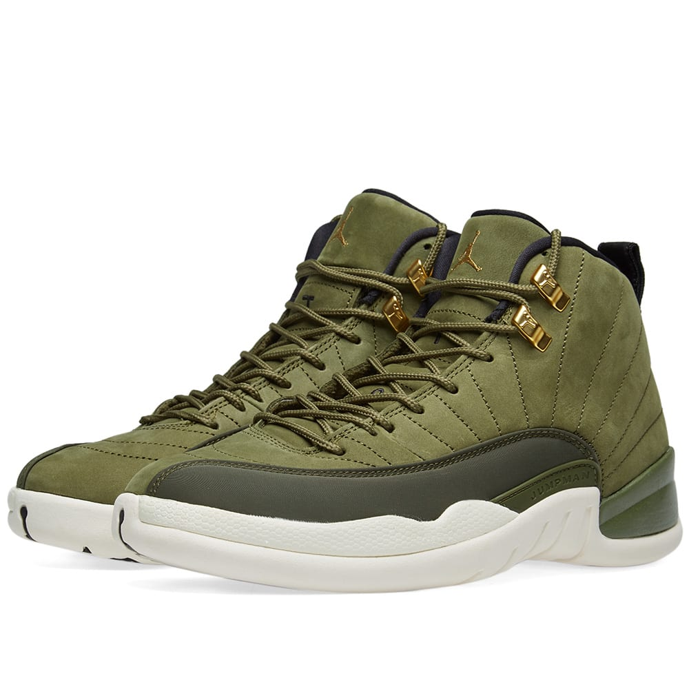 pretty nice 7f95d d2f05 Air Jordan 12 Retro Olive Canvas, Black   Sail   END.