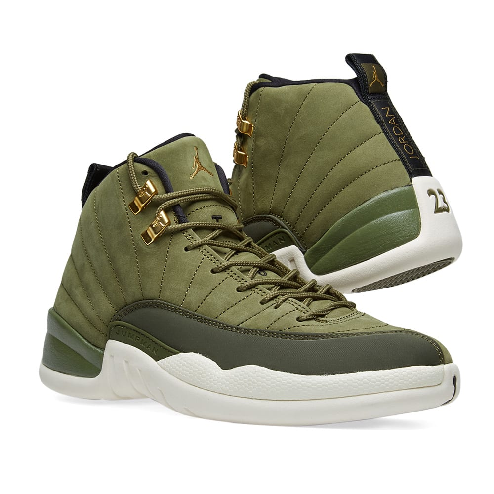 low priced a2b52 b3ed5 Air Jordan 12 Retro. Olive Canvas, Black   Sail
