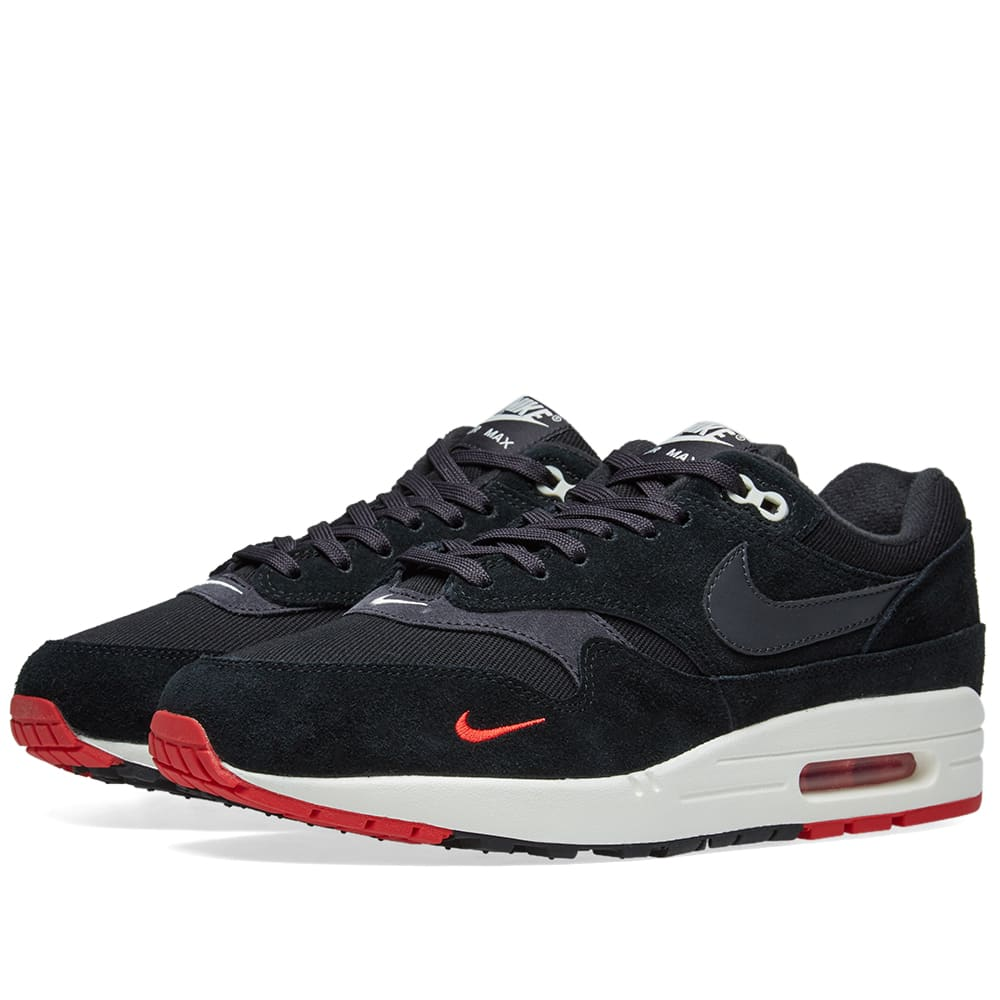 huge selection of d68ea 66927 Nike Air Max 1 Premium Black, Oil Grey   Red   END.