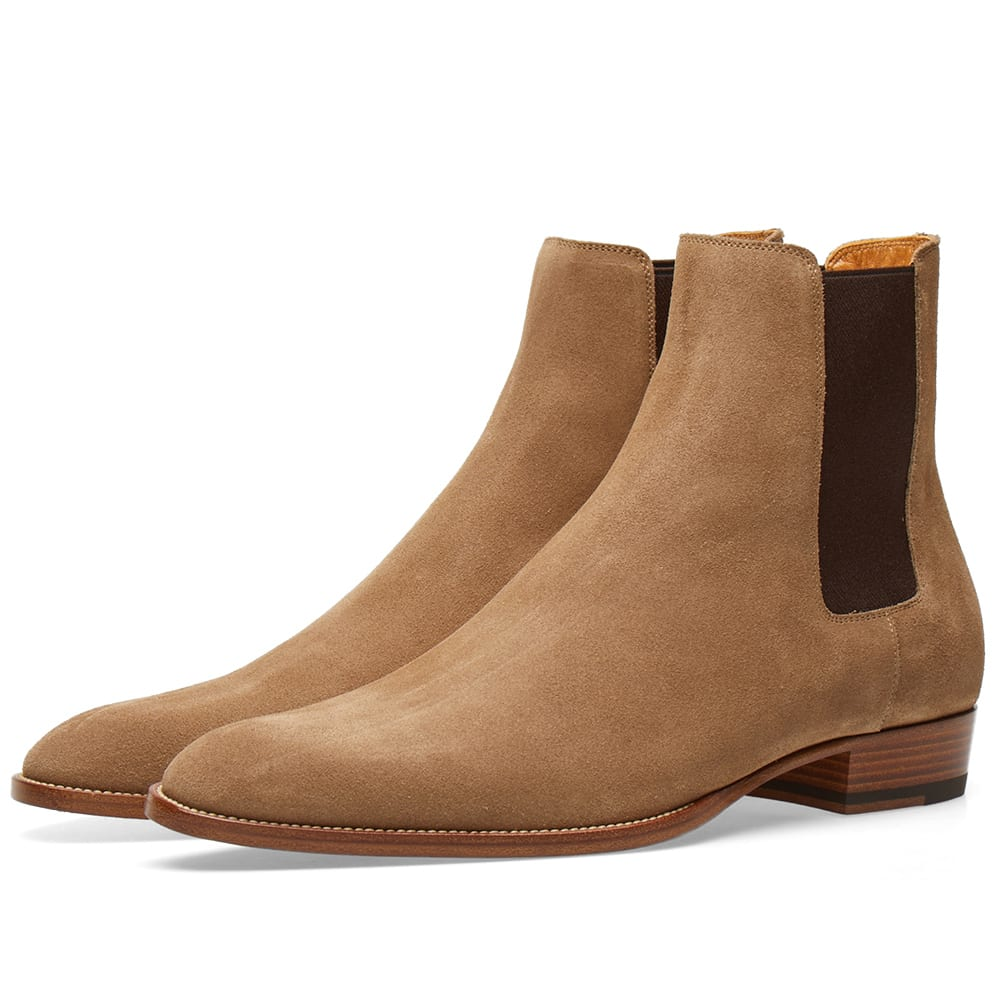 1e3056b70c8 Saint Laurent Wyatt Suede Chelsea Boot