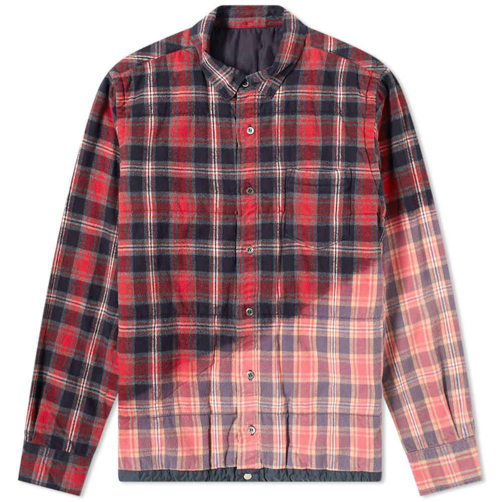 Sacai Checked Cotton-flannel Overshirt In 785 Pink Red