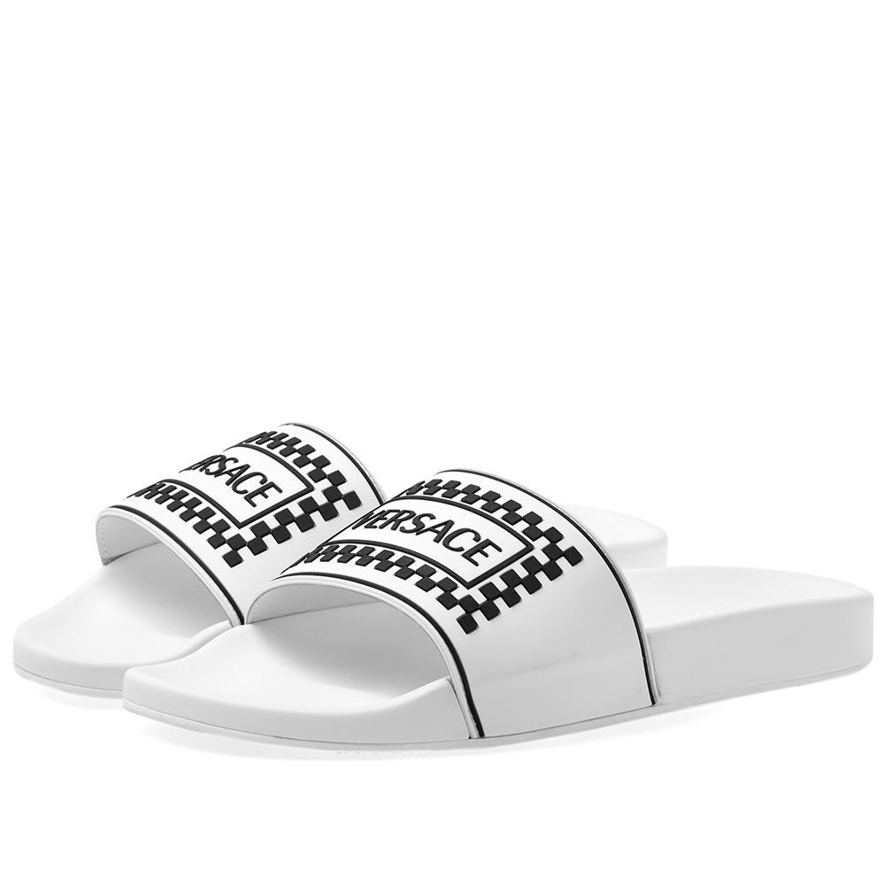 0ba5b37cf7f5 Versace Logo Pool Slide White   Black
