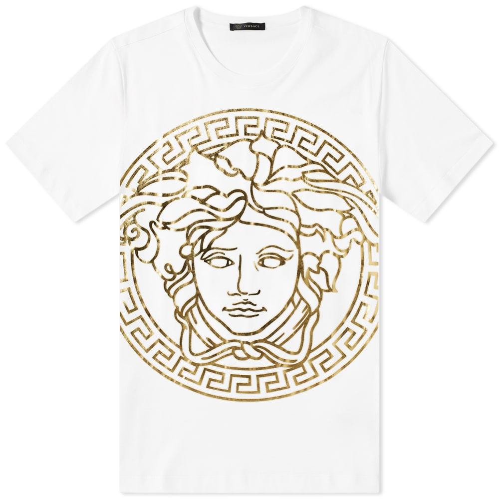 d02b521b Versace Printed Large Medusa Head Tee White & Gold | END.