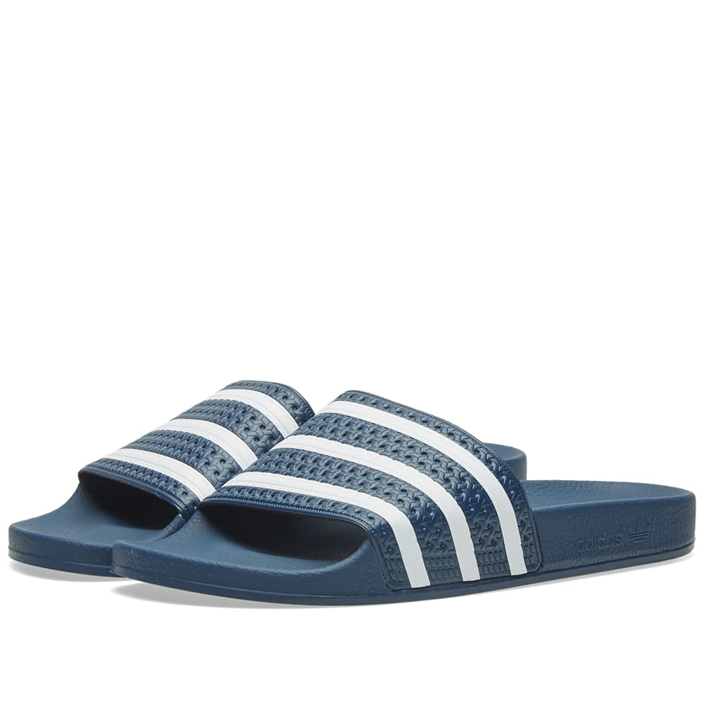 Adidas Originals Adilette Textured-Rubber Slides In Blue  a2345b624