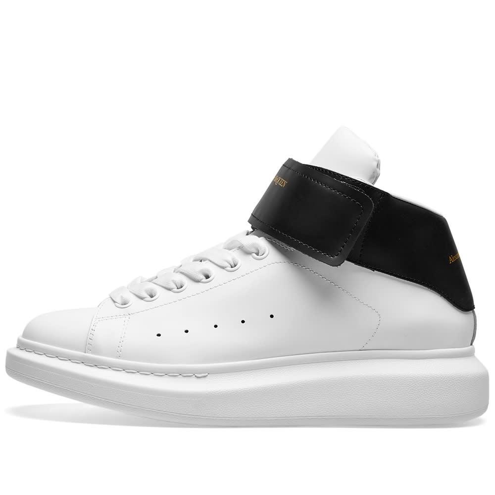 better latest discount uk cheap sale Alexander McQueen Hi Top Strap Wedge Sole Sneaker White & Black | END.
