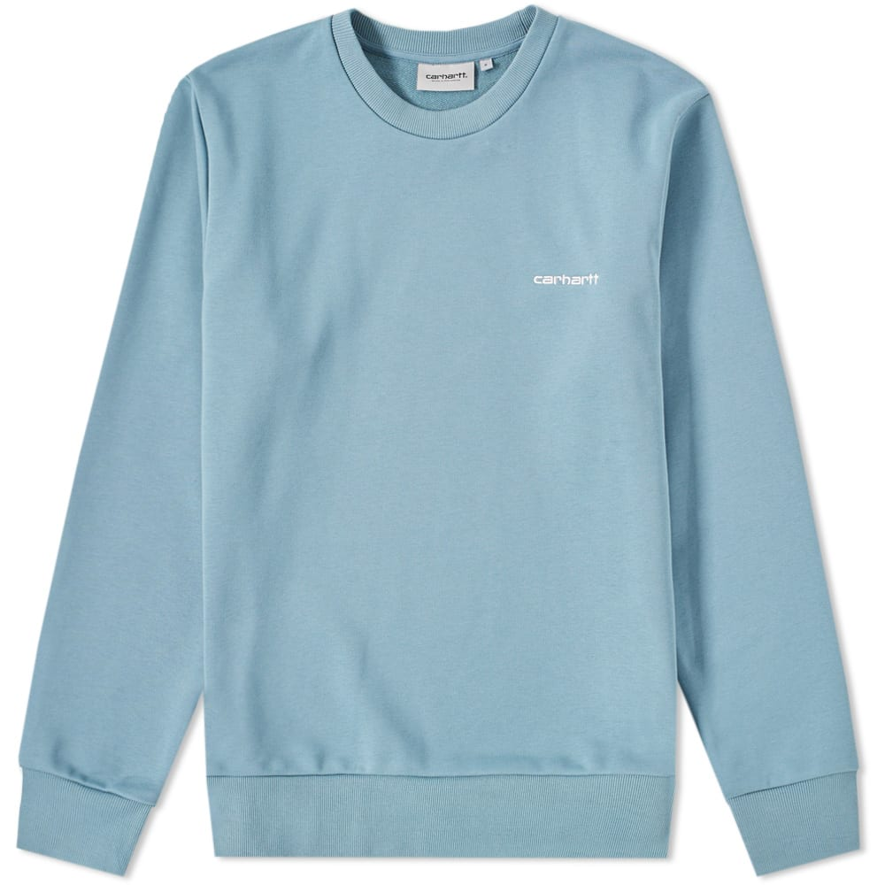 432b47a883 Carhartt Script Embroidery Sweat Dusty Blue   Wax