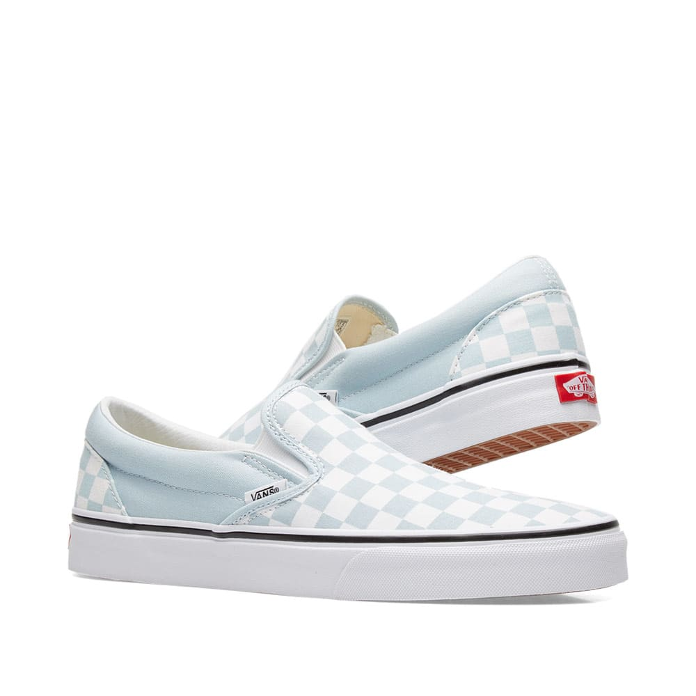 c9314cb002 Vans Classic Slip On Checkerboard Baby Blue   True White