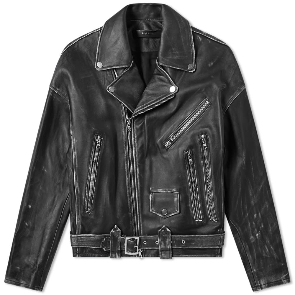 Amiri Jackets AMIRI LEATHER OVERSIZED BIKER JACKET