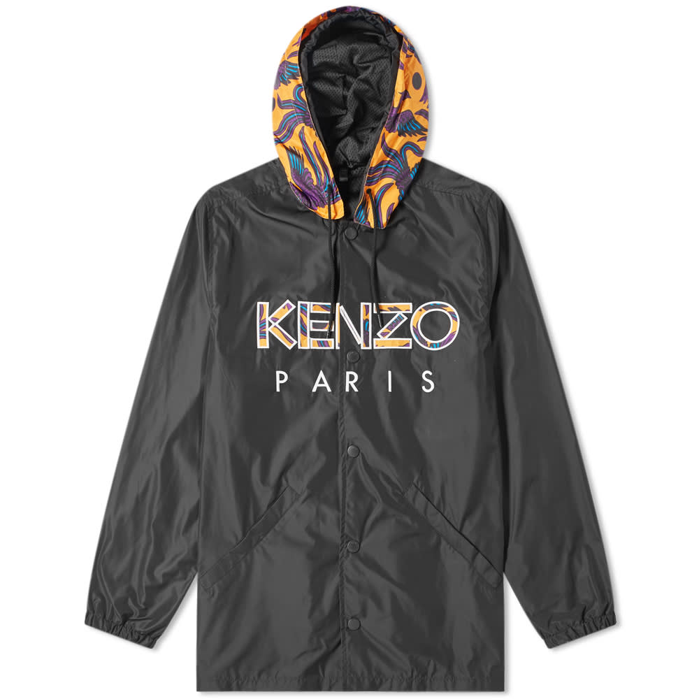 b82a9018 Kenzo Paris Logo Hooded Coach Jacket Black | END.