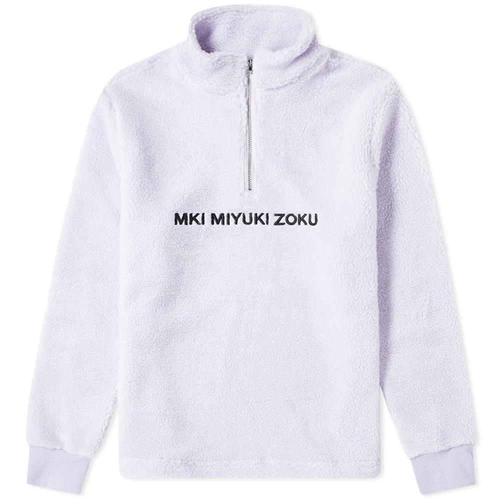 MKI MIYUKI ZOKU | MKI Sherpa Quarter Zip Sweat Lilac | Goxip