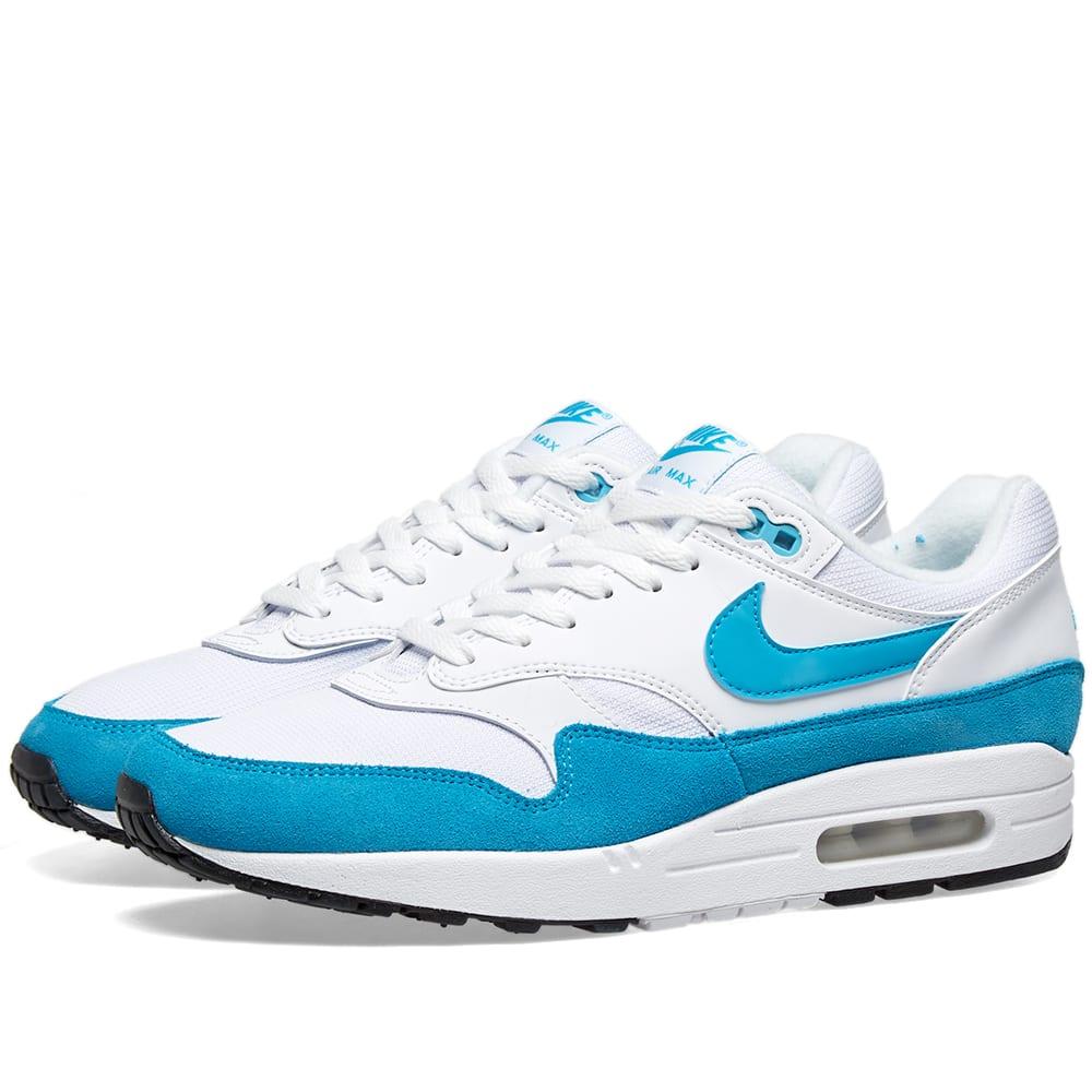 buy popular 010b9 92d85 Nike Air Max 1 W White, Light Blue Fury   Black   END.