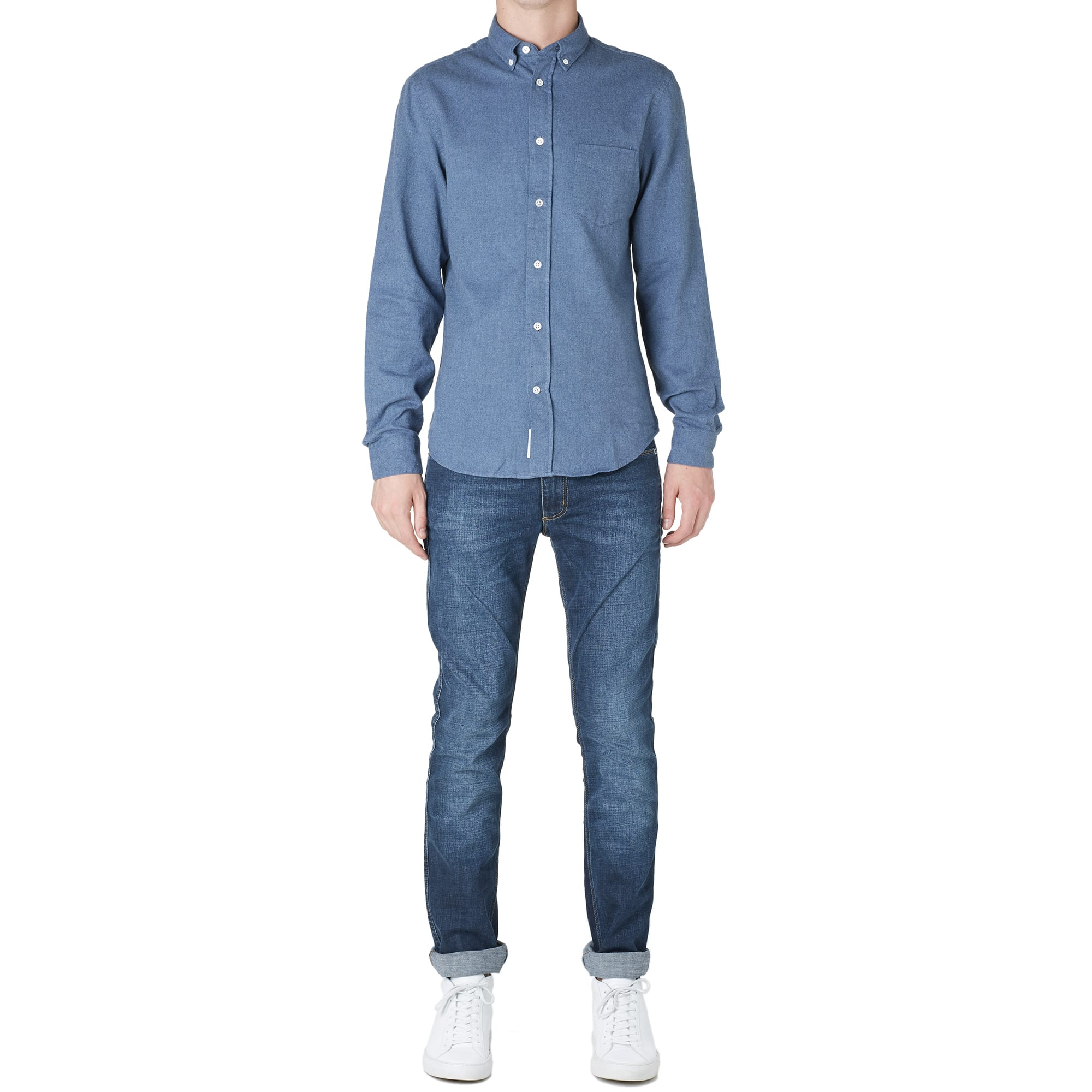 acne studios isherwood flannel shirt jeans blue