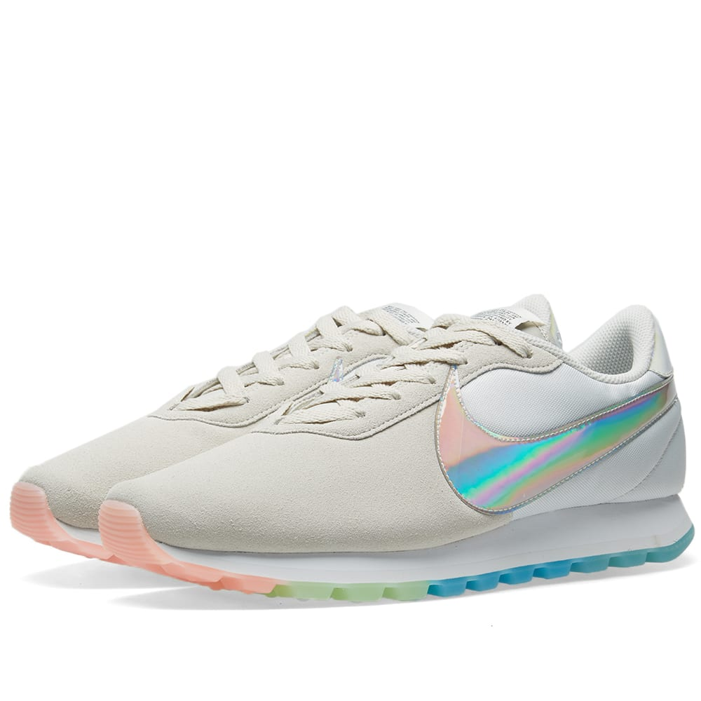 Pre-Love O.X. Suede Sneakers With Holograph Swoosh, White