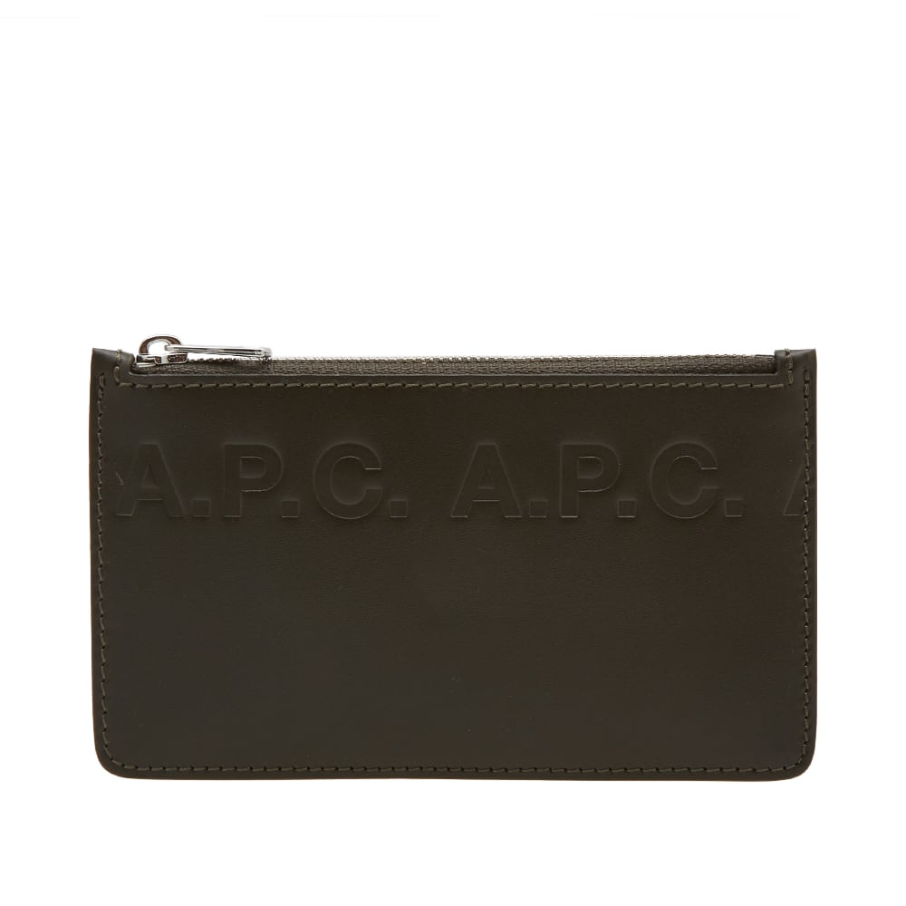 A.P.C. WALTER LOGO LEATHER CARD WALLET