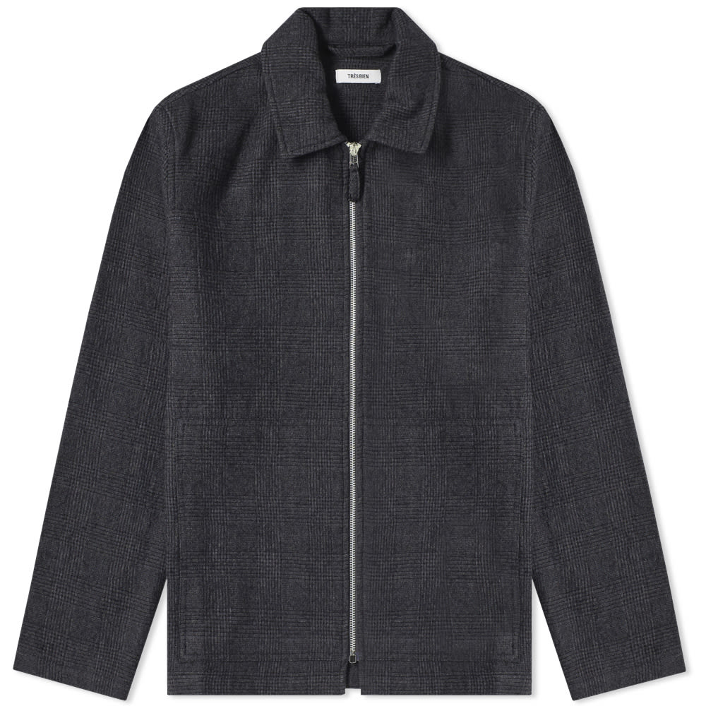 TRÈS BIEN Très Bien Wool Check Zip Blouson in Grey