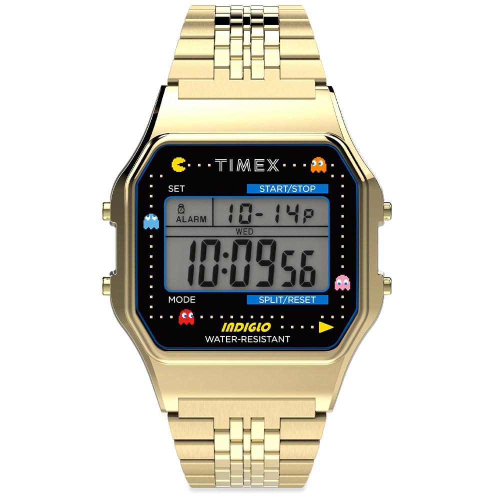 Timex Archive X Pacman  80 Digital Watch In Gold
