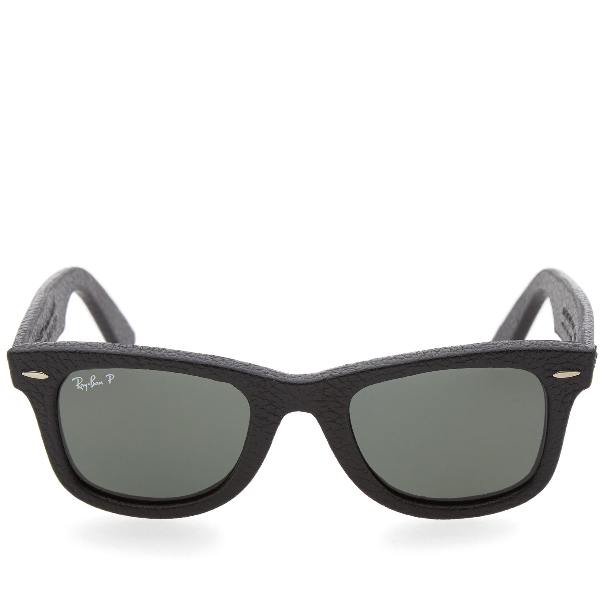 ddf97318404c Ray Ban Wayfarer Leather Sunglasses Black   Polarised Green