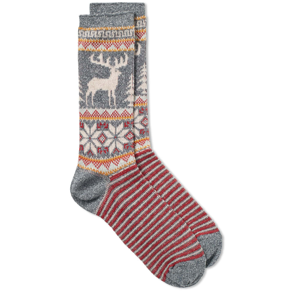 ANONYMOUS ISM Anonymous Ism Deer Snow Jacquard Crew Sock in Grey