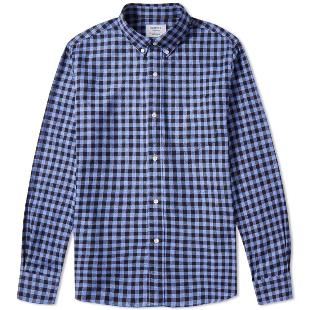 Edifice button down flannel shirt blue gingham for Blue gingham button down shirt