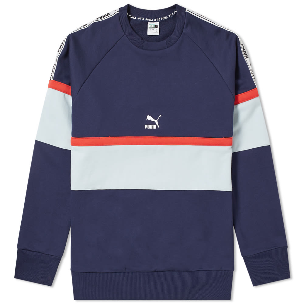 Puma Retro Crewneck New Red Dark Blue White Men Sportswear 576836-06