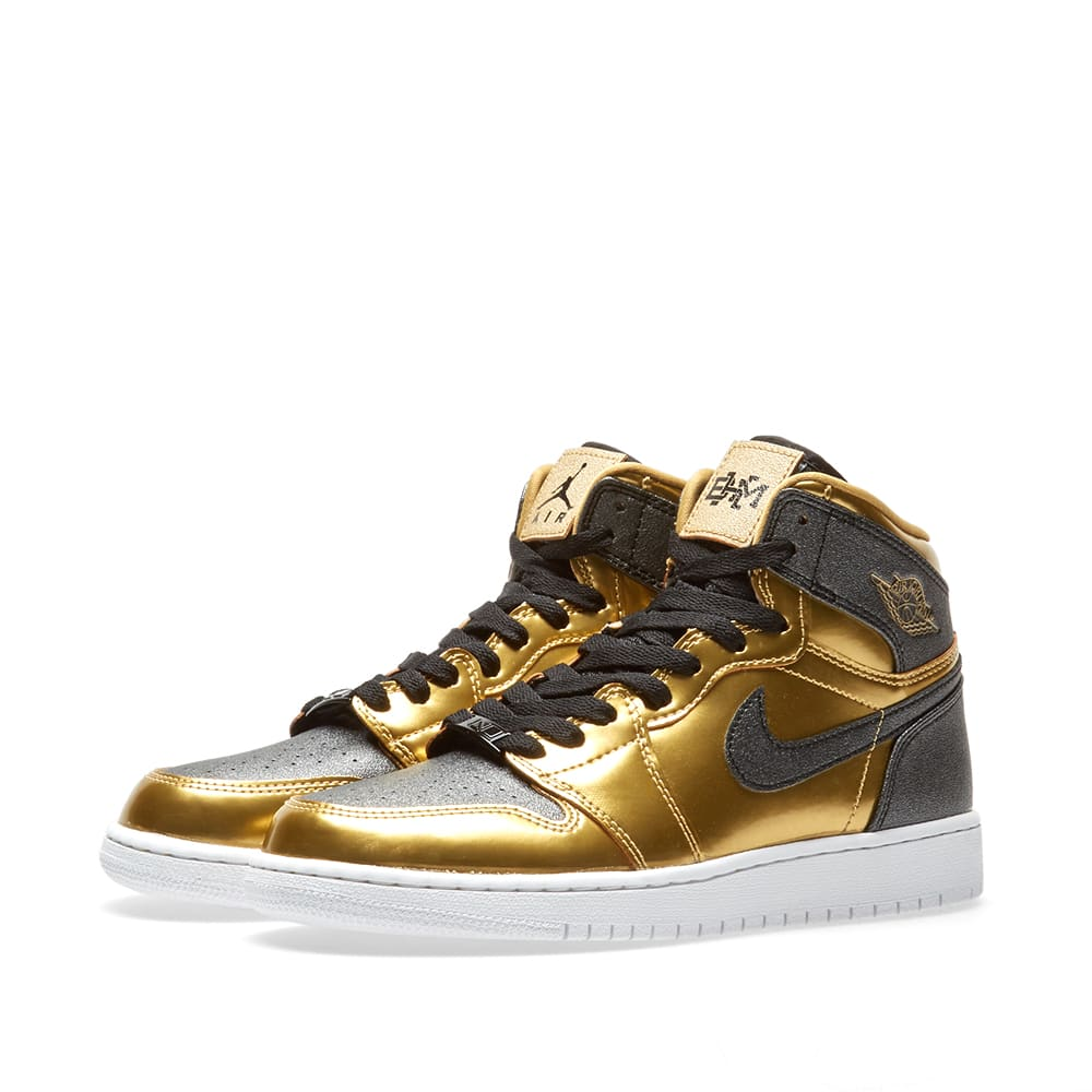 new concept 5d613 5f492 Nike Air Jordan 1 Retro High GG  Black History Month  Metallic Gold, Black    White   END.