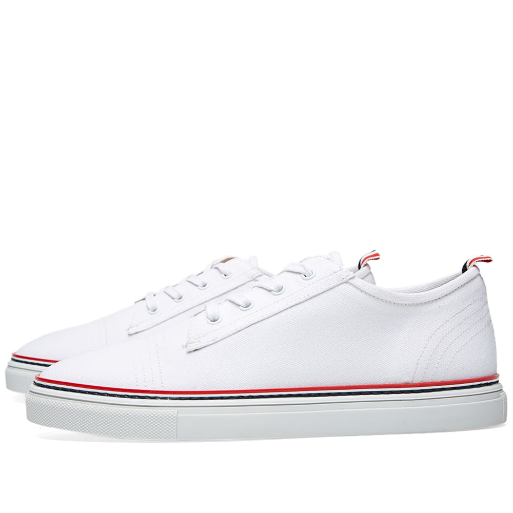 thom browne tennis shoe white canvas