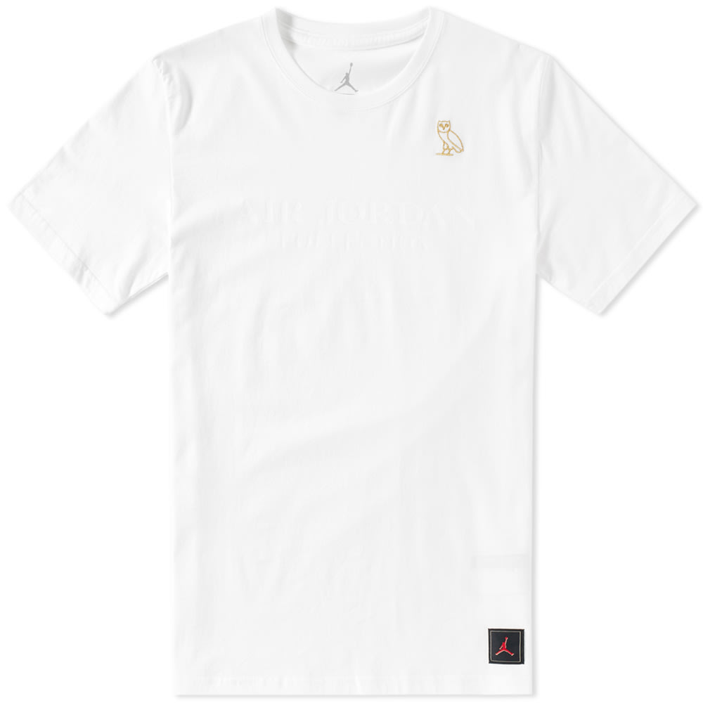nike air jordan x ovo tee white metallic gold. Black Bedroom Furniture Sets. Home Design Ideas