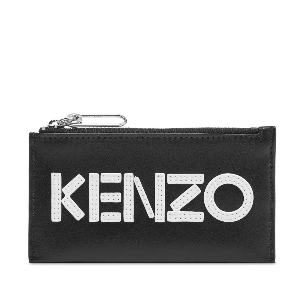 Kenzo Leather Logo Zip Card Wallet Black