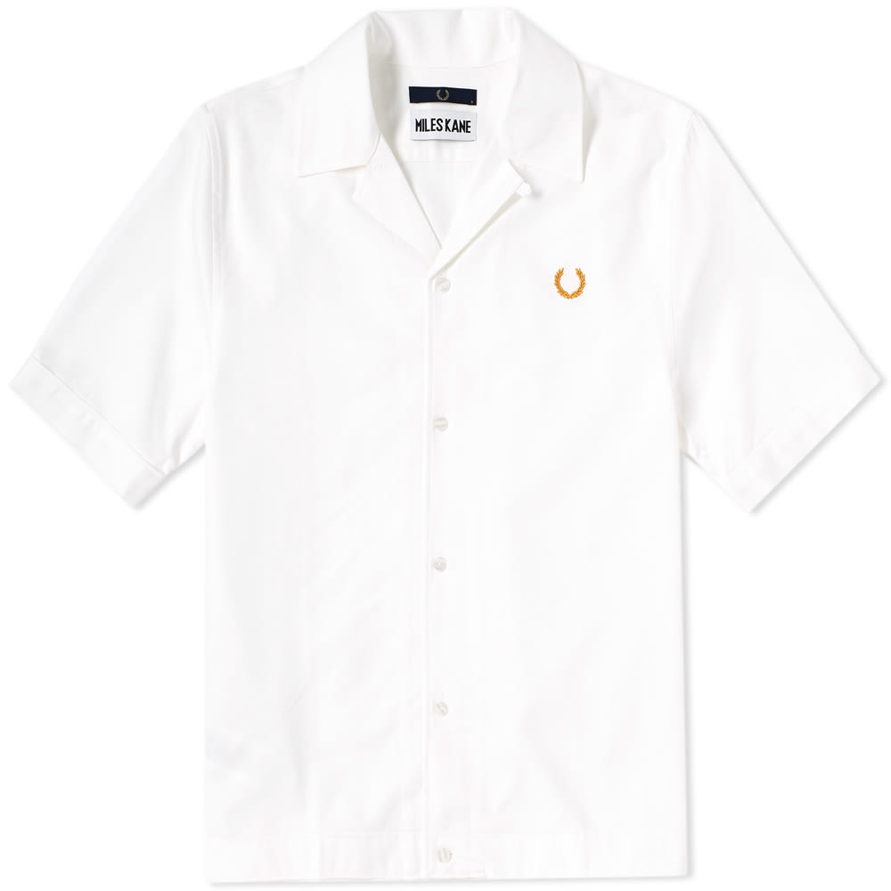 Fred Perry X Miles Kane Bowling Shirt In White Modesens