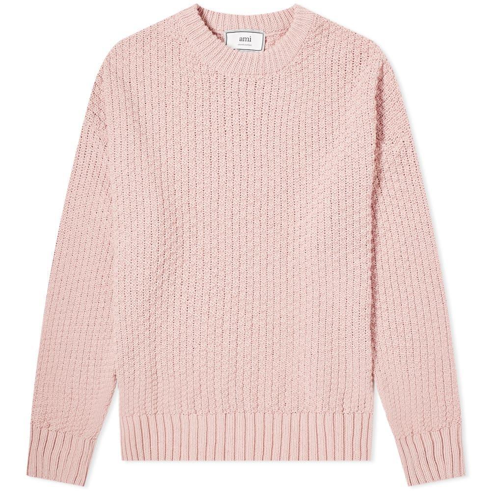 AMI PARIS | AMI Basket Stitch Crew Knit Pink | Goxip