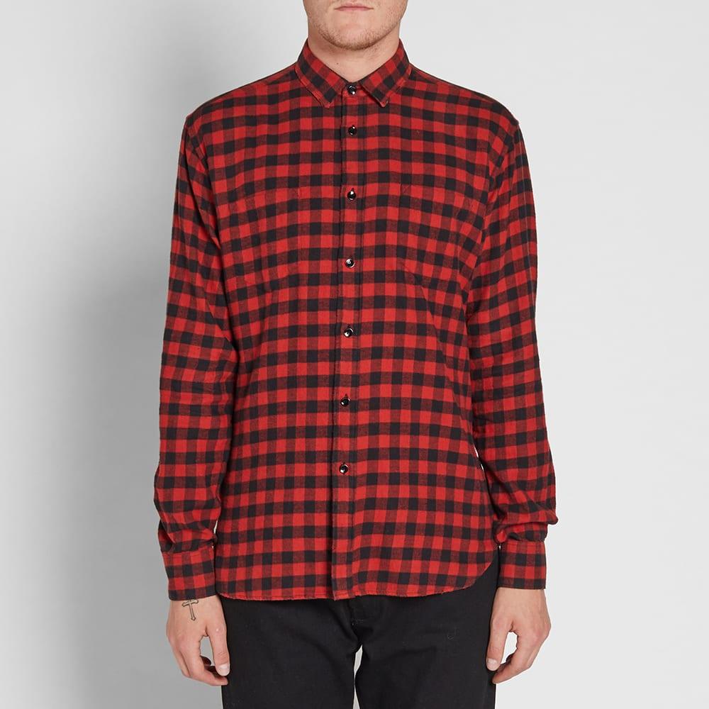 Saint laurent flannel check shirt red black for Flannel shirt red black