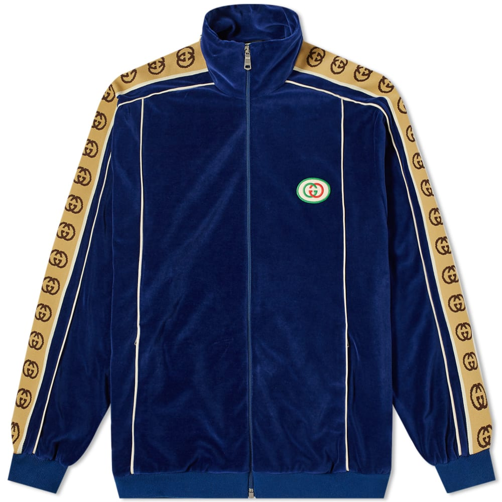 0ff2da4ab Gucci Velour Taped Oversized Track Jacket In Blue | ModeSens