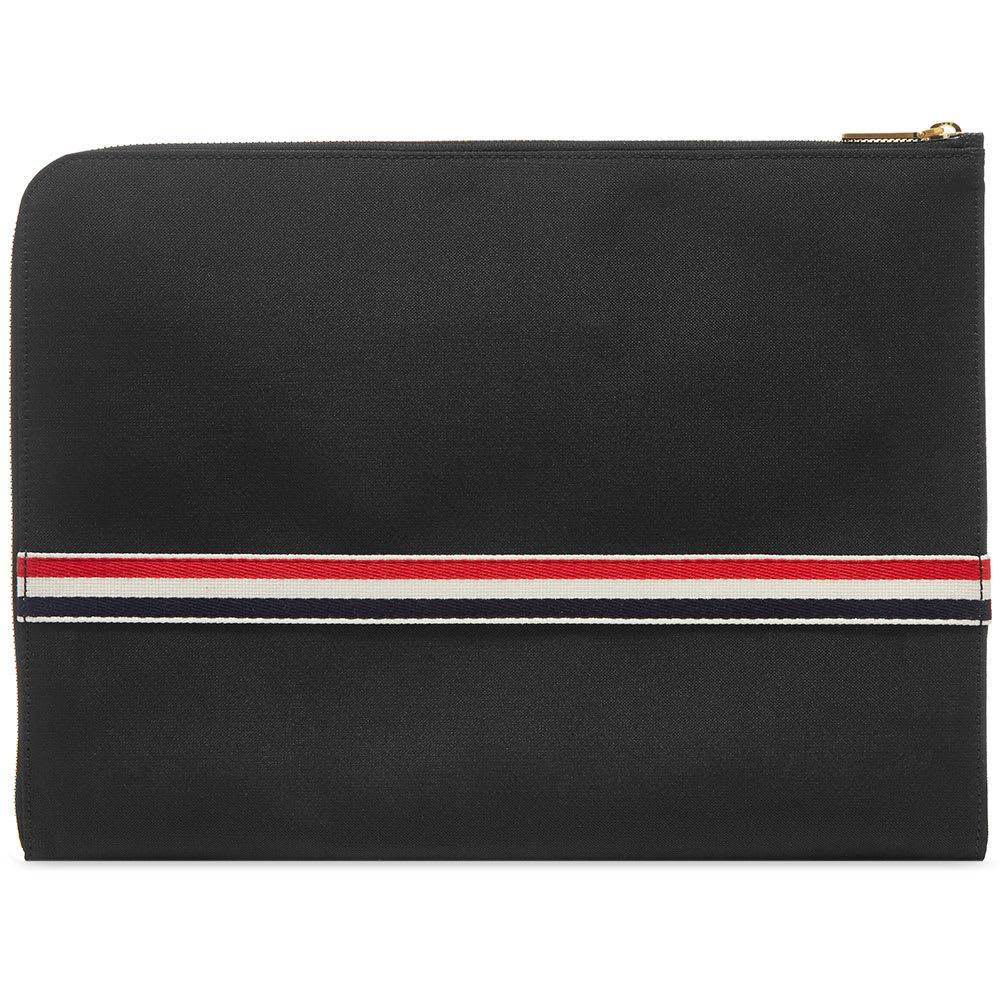 b457158780 Thom Browne Large Grosgrain Stripe Document Holder. Black Pebble Grain