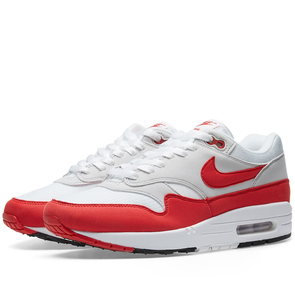 best sneakers 42fc4 ae047 Nike Air Max 1 OG White, University Red   Grey   END.