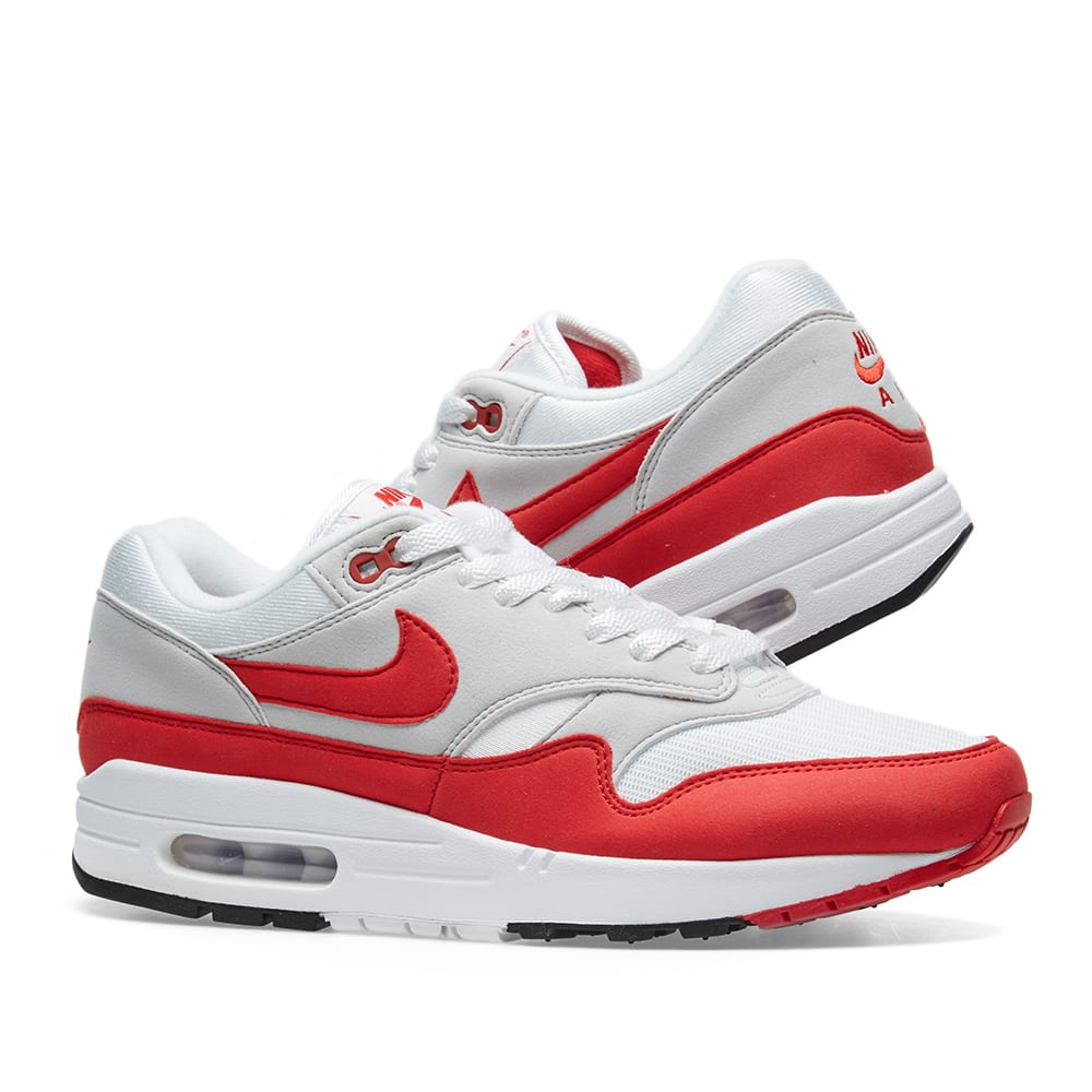best service 46aa0 85cea Nike Air Max 1 OG. White, University Red   Grey