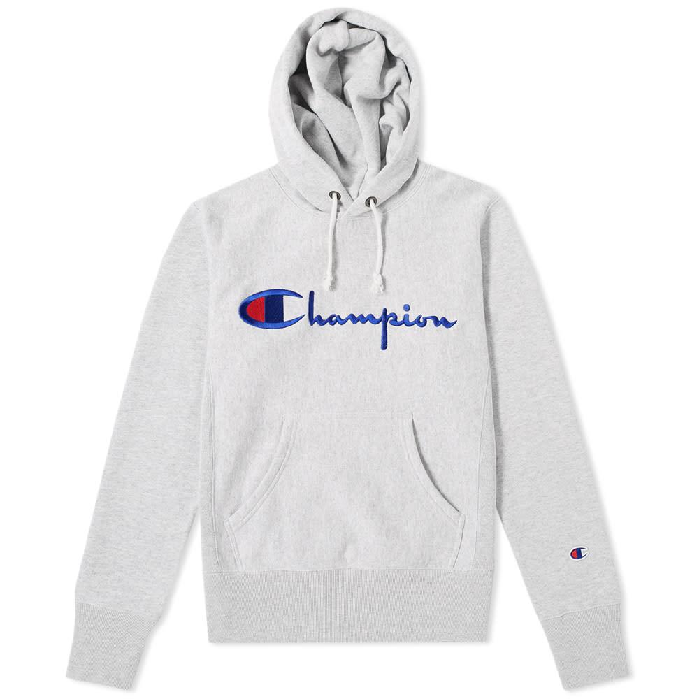 dda2737b5cfd Champion Reverse Weave Script Logo Hoody Grey Marl