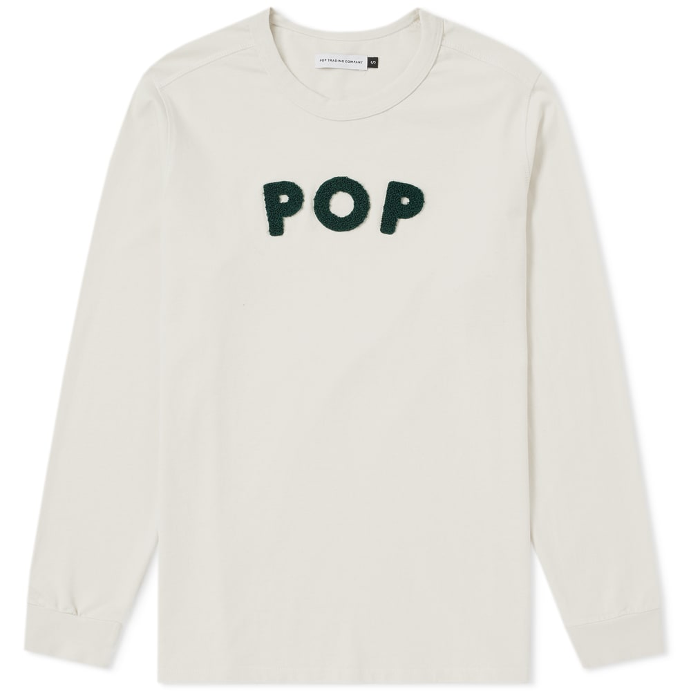 Pop Trading Company Long Sleeve Logo Applique Tee in White