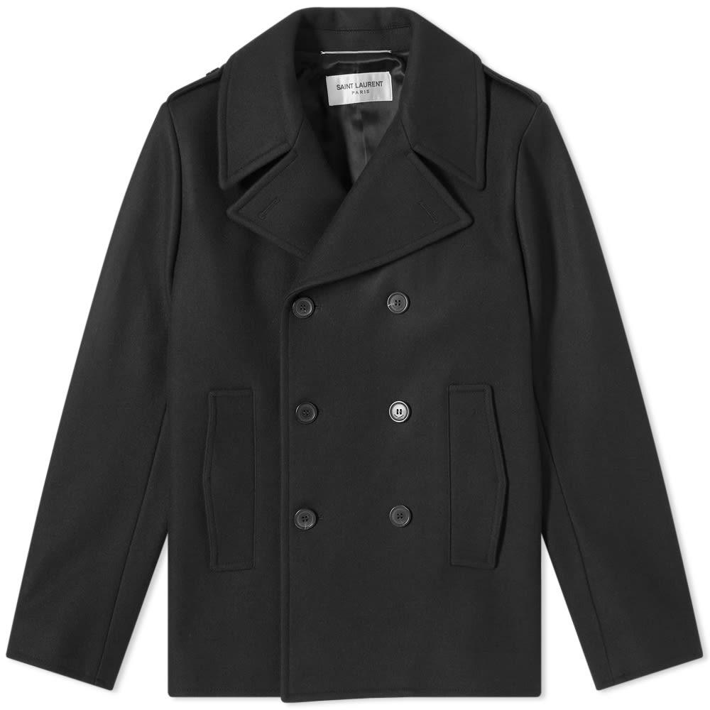 Saint Lau Classic Wool Peacoat, Black Cotton Pea Coat