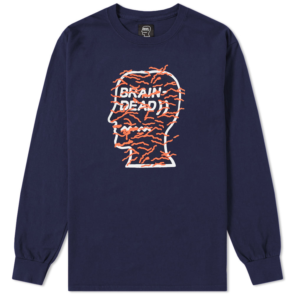 BRAIN DEAD Brain Dead Long Sleeve Infected Logo Tee in Blue