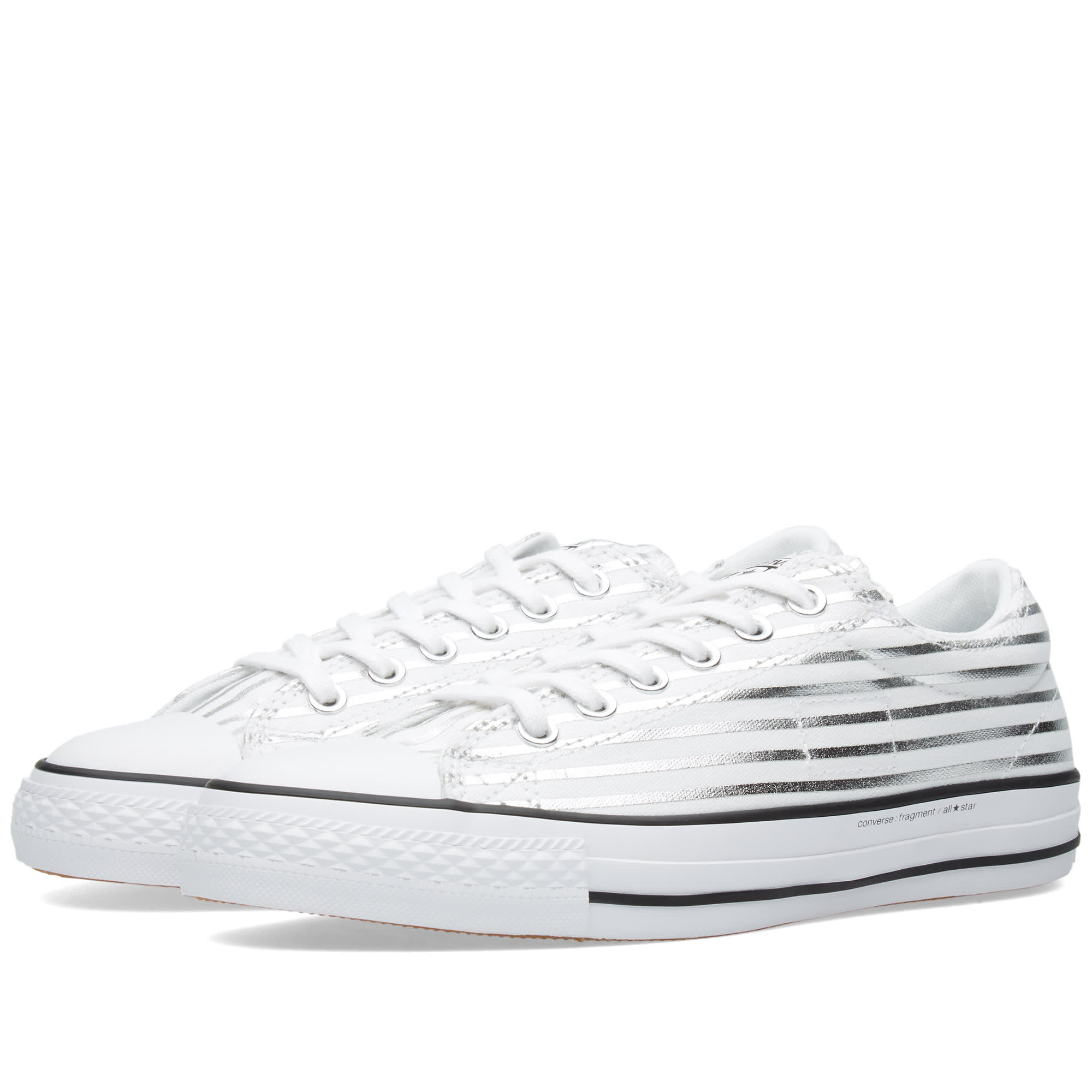 Men's Converse White Silver Shoes Fragment Cts Ox 'metallic