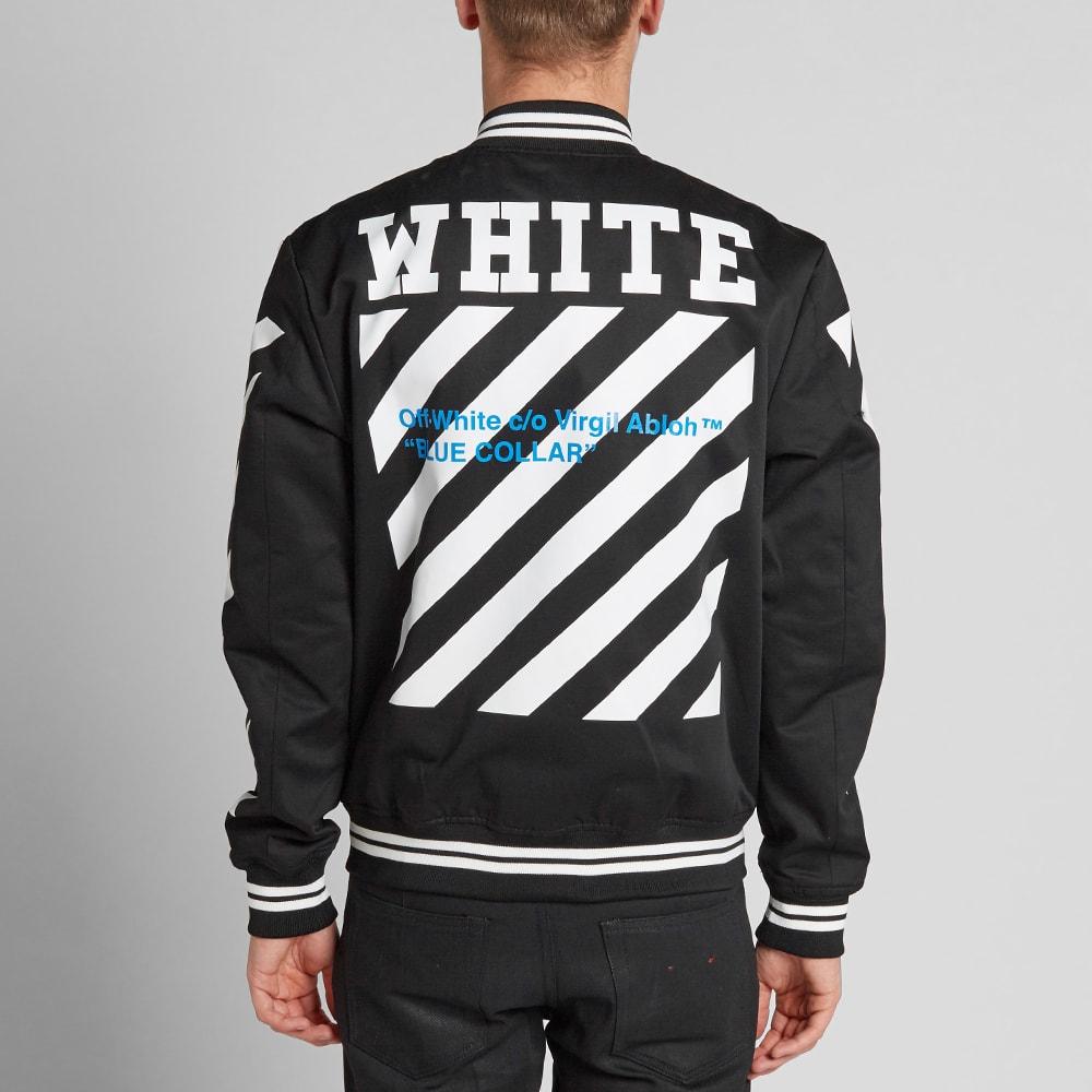 off white blue collar varsity jacket black cobalt. Black Bedroom Furniture Sets. Home Design Ideas
