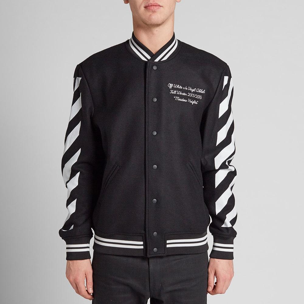 off white letterman jacket black white. Black Bedroom Furniture Sets. Home Design Ideas