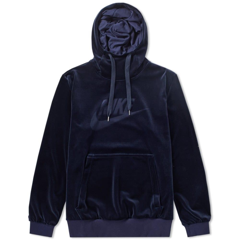 811b647569f6 Nike Plush Velour Pullover Hoody Obsidian